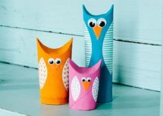 Give a hoot! These cute owls are made out of recycled toilet paper tubes.