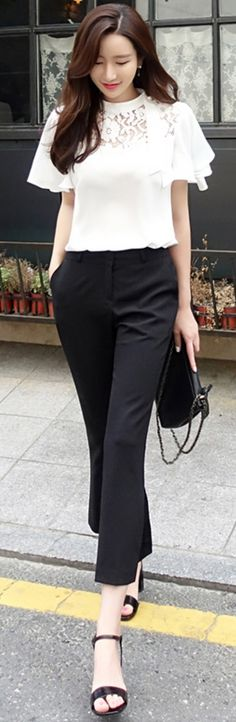 StyleOnme_Side Slit Boot-Cut Pants #black #bootcut #slacks #dresspants #feminine #koreanfashion #kstyle #kfashion #summertrend #dailylook