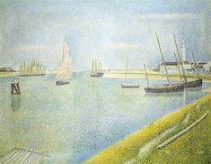 El canal de Gravelines, en la Dirección de Mar, 1890 - Georges Seurat.  Puntillismo