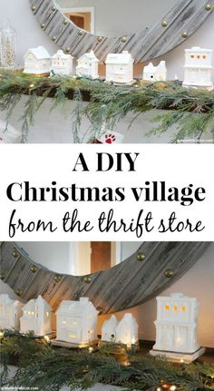 A DIY Christmas village from the thrift store. Clay paint makes these old pieces look expensive and new - perfect for a Christmas mantel or other Christmas decorating! So cute and thrifty! A DIY Christmas village from the thrift store Christmas Mantels, Christmas Crafts, Christmas Ornaments, Christmas Ideas, Christmas Christmas, Holiday Ideas, Christmas Things, Victorian Christmas, Retro Christmas