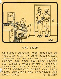 Flyer ad for Time Tutor program (1981). Telephone, Quizzes, Connection, Software, Digital, Cards, Phone, Quizes, Maps