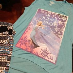 "Let's Have Fun mix match pajama Disney Frozen hi lo top XL. 24"" front 29"" back. Pants 33"". can be worn as crop. stretchy & comfy. Soft elastic waist. large (14-16) Intimates & Sleepwear Pajamas"