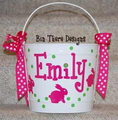 10 Quart Personalized Easter Basket Pail