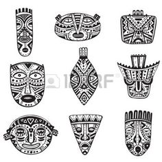 disegni maya: Vector set of hand drawn fancy masks in african style. Black and white tribal ethnic collection Vettoriali