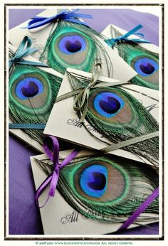150 Peacock Themed Seed Favors. $475.00, via Etsy. Just a thought... something we could totally do though