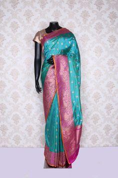 Light #blue & antique #gold pure #banarasi silk mesmerising saree with…