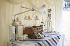 Entrance table for a nautical wedding styled by Coastalcreatives