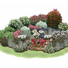 Easy Outdoor Room Garden illustration Rock Garden Design, Rock Garden Plants, Cottage Garden Design, Garden Design Plans, Japanese Garden Design, Water Garden, Shade Garden, Brick Garden, Cottage Gardens