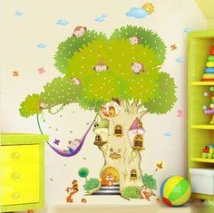 Adesivi da parete cartone animato grande albero camera per bambini - Myefox.it