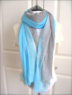 Aqua Blue  scarf, Grey Cotton Scarf, Ombre scarf, Hand died, summer, beach scarf, summer fun via Etsy