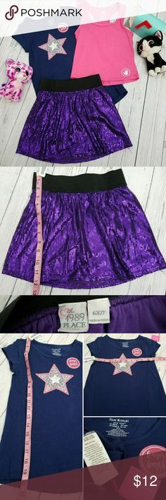 Girls sz 6/6X outfit sequin skirt, star tee, tank Girls outfit sequin skirt, star tee, tank top  The Children's Place Purple sequin lined sequin skirt with wide elastic waistband 6X/7 NWT Isaac Mizrahi Dark blue t-shirt with star in center with sequins inside star. Size 5-6. Sizing seems to be closer to 6. See measurements.  NWOT Pink Bodyglove tank top size 6X. The Children's Place Matching Sets