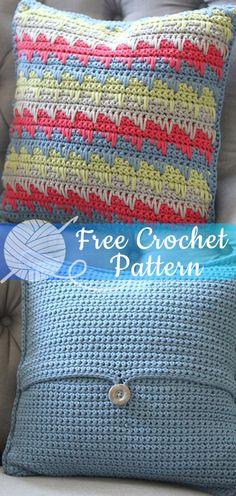 Reversible Spike Stitch Pillow Cover [CROCHET FREE PATTERNS] - All About Crochet Crochet Home, Crochet Crafts, Crochet Yarn, Crochet Stitches, Crochet Projects, Free Crochet, Crochet Ideas, Crochet Cushions, Crochet Pillow