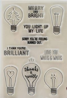 Light Bulbs Clear Rubber Stamp Set with bree, heart, love, light, lamp, brilliant, watts, sorry by DewAndDaisies on Etsy