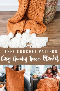 Crochet Chunky Blanket - Free Pattern - MJ's off the Hook Designs Chunky Crochet Blanket Pattern Free, Chunky Blanket, Easy Crochet Patterns, Crochet Blankets, Simple Crochet Blanket, Blanket Yarn, Crochet Afghans, Crochet Scarves, Crochet Fall