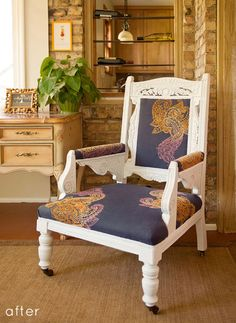 read the post for good info on embroidery in upholstery, via designsponge.