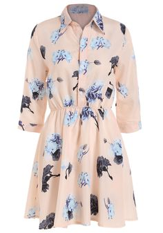 Romwe Lapel Flower Print Shirt Dress