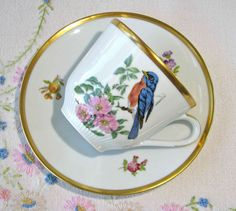 Vintage Carl Schumann porcelain tea set with robin, wild roses and gold trim