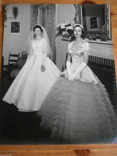 Vintage 8x10 wedding photo: Bride and mother, 1950s Lynchburg, VA, dresses, gown