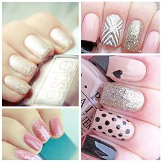 nail art, pink, black, cute