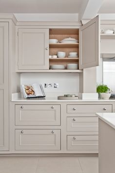 Greige Is the New Beige Kitchen Cabinets Craze Beige Kitchen Cabinets, Kitchen Ikea, Kitchen Cabinet Colors, Painting Kitchen Cabinets, Home Decor Kitchen, Home Kitchens, Kitchen Design, Tan Kitchen, Hickory Kitchen