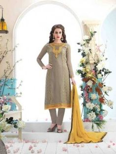 Grey And Dull Yellow Faux Georgette Suit