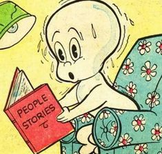 Casper the Friendly Ghost reads People Stories Halloween Quotes, Halloween Art, Vintage Halloween, Happy Halloween, Halloween History, Halloween Cartoons, Halloween Witches, Halloween Decorations, Space Ghost