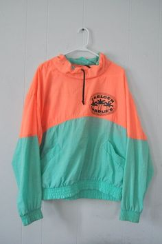 89626e2acbbf1e Vintage Windbreaker Carlos n Charlies Jacket Neon Peach Orange Pink Light  Teal…   fall clothes   autumn   cold weather   sweater weather   clothing  ...