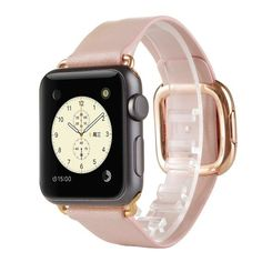 Kartice(TM)Modern Buckle Genuine Leather Watch Band Strap Bracelet Wrist Band With Adapter Clasp Replacement for Apple Watch&Sport&Edition--38mm Pink strap Rose Gold Buckle