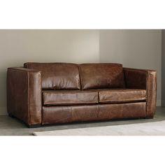 Canapé lit d angle 5 places convertible cro te de cuir marron