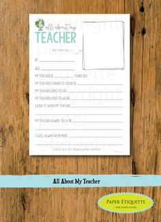 All About My Teacher -  Teacher Appreciation / End of Year Teacher Gift - Fill In The Blanks - Print Your Own Teacher Card - World Teacher by PaperEtiquette on Etsy