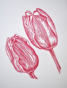 Tulip Original Art Lino Print UK by 1am1nspired on Etsy, £16,00