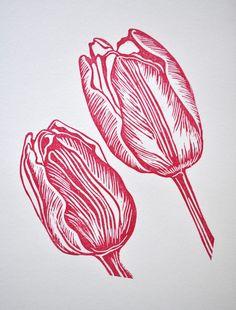Tulip lino print