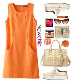 """Newchic ~orange dress"" by gabygirafe ❤ liked on Polyvore featuring Furla, MAC Cosmetics, dress, orangecrush and newchic"