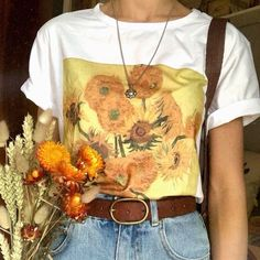 aesthetic drawing Van Gogh Sunflowers T-Shirt Aesthetic Shirts, Aesthetic Fashion, Aesthetic Clothes, Sunflower Shirt, Sunflower Tattoos, Aesthetic Painting, Aesthetic Drawing, Vintage Shirts, Vintage Outfits
