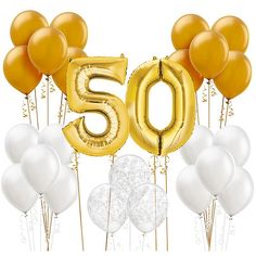 Celebrate 50 loving years with a Anniversary Balloon Kit! This balloon kit includes latex balloons and foil number balloons for their anniversary party! Company Anniversary, Work Anniversary, Golden Anniversary, Anniversary Parties, 50th Wedding Anniversary Decorations, Anniversary Party Decorations, Wedding Favors, 50th Anniversary Centerpieces, Wedding Bouquet