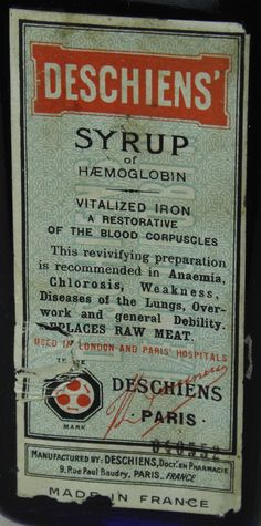 Antique Bottles 245 - September - Chessington Surrey - A full, sealed and labelled French cobalt blue bottle containing 'Deschiens' Syrup', a blood tonic that was apparently prepared from sheeps blood.