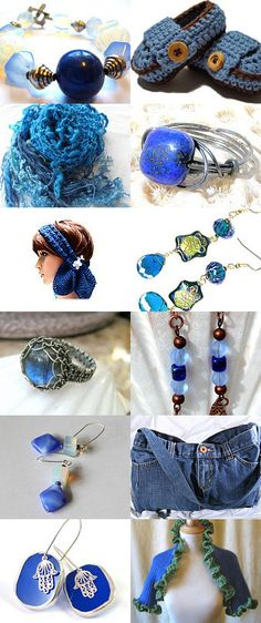 Chunky Blue Shrug (bottom right) is in this Electric Blue Etsy Treasury.
