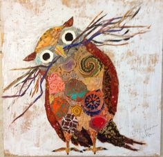 'Curious Owl' by Elizabeth St. Hilaire do series of owls in mixed media and collage