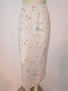 MARC WARE HOT COTTON Sz L Long Linen Floral Print Skirt