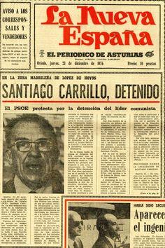 """La noticia de la detención de Santiago Carrillo, según fue recogida por """"La Nueva España"""" el 23 de diciembre de 1976."""