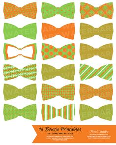 Spring/Summer Bowtie Printables! 18 Orange and Lime Printable Bowties! Glue them to toothpicks and stick them in treats on your dessert table or string them up as garland! $3.50 (Available in any color combination) #cupcaketoppers #tags #babyshower #invitation #birthday #wedding #decorations #dessert #table #bow #tie #diy #paper #boy #dapper #preppy #itsaboy #orange #lime #green #easter #bunny #clown #newborn #expecting #parentstobe