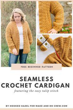 Bobble Crochet, Crochet Coat, Crochet Clothes, Easy Crochet, Free Crochet, Crochet Sweaters, Crochet Cardigan Pattern Free Women, Crochet Shrugs, Crochet Cocoon
