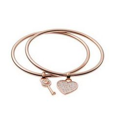 Michael Kors Heart And Key Charm Rose Golden Bracelets