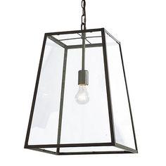 """Eldridge Pendant Large: 25 1/2""""H X 18"""" Square Medium: 20 1/2""""H X 14"""" Square $199 100W bulb antique bronze Small: 13""""H X 8"""" Square"""