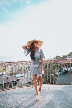 FEBRUARY 27, 2018 Vacation Look + The Cutest Statement Earrings on SALE! - OUTFIT DETAILS DRESS: Express c/o | FLATS: Chanel | HAT: Express c/o | BACKPACK: Chanel | EARRINGS: Express c/o |