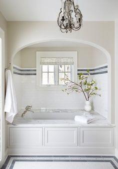 alcove tub, striped tile detail