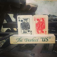 Wooden playing card gift set.