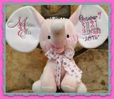 Learn how to personalize plush animals with heat transfer vinyl personalized stuffed animal baby gift birth announcement subway tile monogram by gigiskidscreations on etsy negle Choice Image