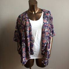 New Navy Floral Kimono Please allow me to make you your own listing in your size! Available in sizes small, large and XL. 100% rayon. Priced at my lowest. *White tank is only for photographic purposes and is not included.* Tanzara Sweaters