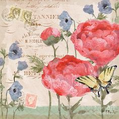 Peony Print featuring the painting Parisian Peony II by Paul Brent